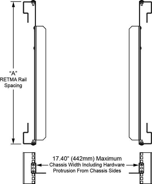 Rackmount support rail dimensions